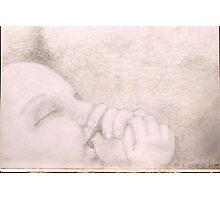 Sleeping baby on lambs wool ! Photographic Print