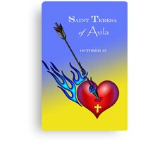Saint Teresa of Avila, Heart Pierced with Flaming Arrow Canvas Print