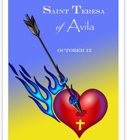 Saint Teresa of Avila, Heart Pierced with Flaming Arrow Sticker