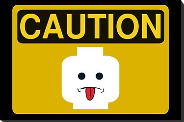 Caution Rude Minifig Head Sign by Customize My Minifig by ChilleeW