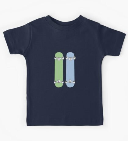 Green and Blue Skateboards  Kids Tee