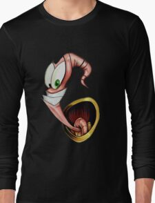 Funny gaming worm Long Sleeve T-Shirt