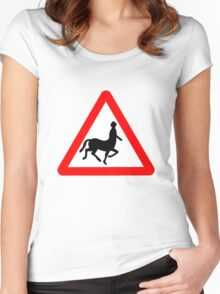 Caution! Centaurs!  Women's Fitted Scoop T-Shirt
