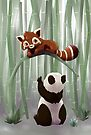 Red panda and panda bear cub by Tunnelfrog