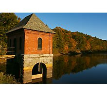 Brick Station Building on a Lake Photographic Print