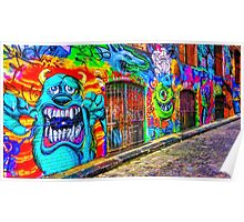 Monsters in the Grafitti Filled Hosier Lane - Melbourne, Victoria Poster