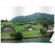 Houses on a mountain slope near Lake Lucerne Poster