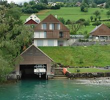 Boat house on the slope on Lake Lucerne by ashishagarwal74