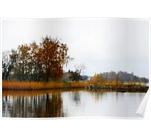 October by the sea, autumn colours Poster