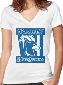 Route 7 Blue Dooms Women's Fitted V-Neck T-Shirt