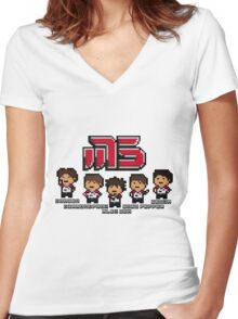 Moscow Pixel 5 Women's Fitted V-Neck T-Shirt