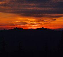 Sunset from Johnson Peak Washington State  by Don Siebel