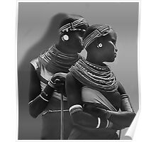 Portrait of Samburu Girls in B&W Poster