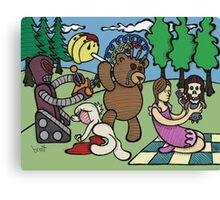 Teddy Bear And Bunny - Remote Control Canvas Print