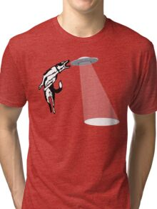 Banksy Style Dog Catching Frisbee (flying saucer) Tri-blend T-Shirt