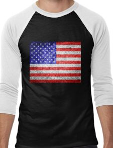 American Flag Grunge  Men's Baseball ¾ T-Shirt