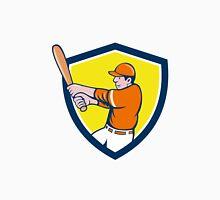 Baseball Player Batter Swinging Bat Crest Cartoon Unisex T-Shirt