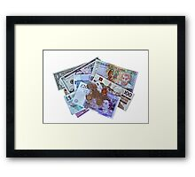 Currency isolated on white Framed Print
