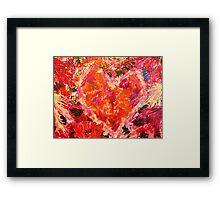 MEND ME - Broken Heart Abstract Artwork Bright Bold Crimson Magenta Black Leopard Print Framed Print