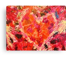 MEND ME - Broken Heart Abstract Artwork Bright Bold Crimson Magenta Black Leopard Print Canvas Print