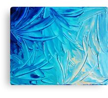 WATER FLOWERS - Beautiful Water Ocean Theme Shades Blue Floral Modern Design Abstract Painting Canvas Print