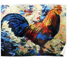 Abstract Cockerel Painting Poster