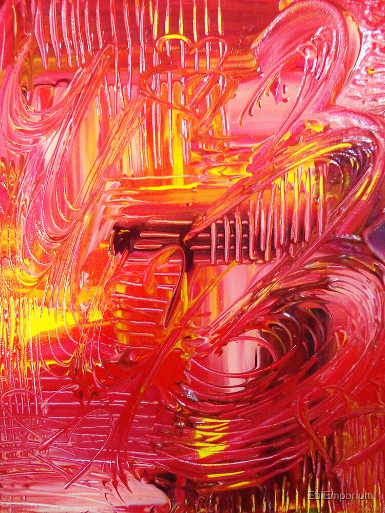 THE TANGO - BOLD Bright Acrylic Beautiful Modern Abstract Painting Dance Red Yellow by EbiEmporium