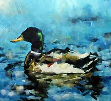 Abstract Malard Duck Painting by Samuel Durkin