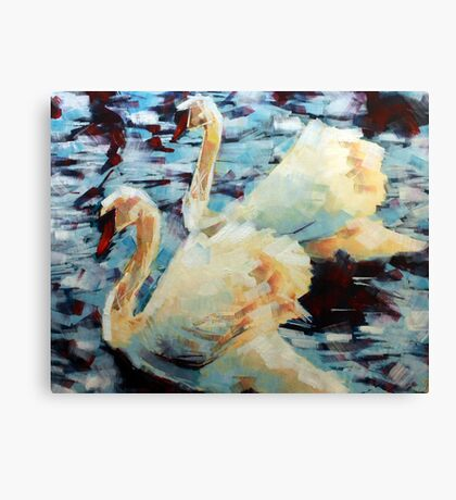 Abstract Impressionist Swans Painting Canvas Print