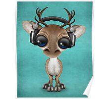 Cute Musical Reindeer Dj Wearing Headphones on Blue Poster