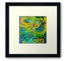 NAUTICAL GALAXY - Beautiful Aquatic Blue Green Ocean Universe Abstract Painting Gift Decor Framed Print