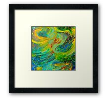 NAUTICAL GALAXY - Beautiful Aquatic Blue Green Ocean Universe Abstract Painting Gift Decor Framed Print