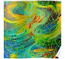 NAUTICAL GALAXY - Beautiful Aquatic Blue Green Ocean Universe Abstract Painting Gift Decor Poster