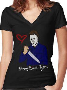 Horror Boyfriends- Michael Myers Women's Fitted V-Neck T-Shirt