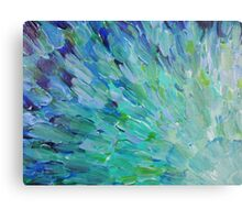 SEA SCALES - Beautiful BC Ocean Theme Peacock Feathers Mermaid Fins Waves Blue Teal Abstract Metal Print
