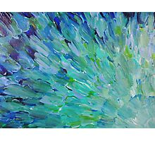 SEA SCALES - Beautiful BC Ocean Theme Peacock Feathers Mermaid Fins Waves Blue Teal Abstract Photographic Print