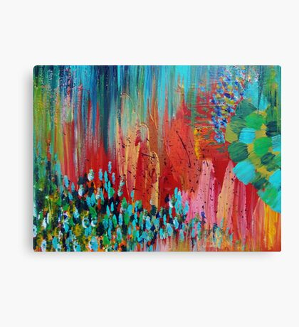 REVISIONED RETRO - Bright Bold Red Abstract Acrylic Colorful Painting 70s Twist Vintage Style Hip Canvas Print