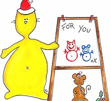 Mouse n Cat Christmas card For You by FionaHill