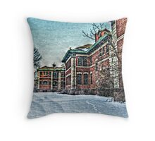 Building 5 In the Snow, Overbrook Psychiatric Hospital Throw Pillow