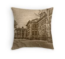 Building 5 In the Snow, Overbrook Psychiatric Hospital - Sepia tones Throw Pillow