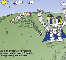 Euroman and Felix Baumgartner caricature by Binary-Options