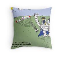 Euroman and Felix Baumgartner caricature Throw Pillow