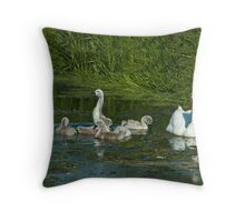 Mute Swan and Cygnets Throw Pillow