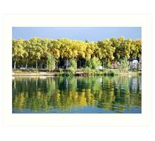 Reflections in the river Rhone at Lyon - France Art Print