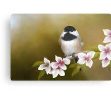 Apple Blossom Chickadee Metal Print