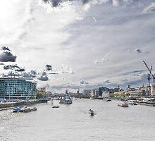 HDR Image of the River Themes form London Bridge  by Michael Hollinshead