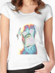 Psychedelic Dog Print Women's Fitted Scoop T-Shirt