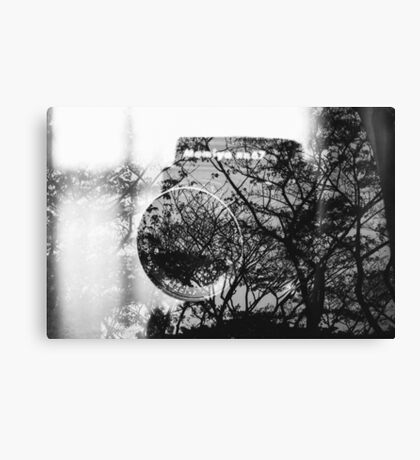 Camera and trees double exposure Canvas Print