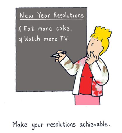 New Year resolution humor, cake and TV. Sticker