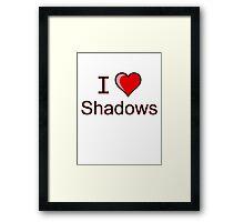 i love shadows heart  Framed Print